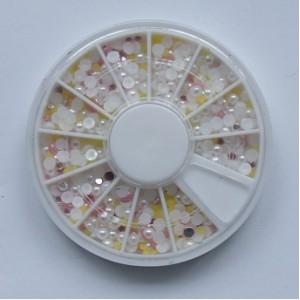 Ruedas de Piedras Decorativas 10 - Perlas Blacas y Rosa