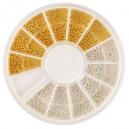 Ruedas de Piedras Decorativas 18 - Perla Oro y Blanca
