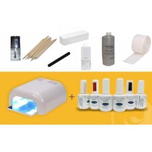 Kit Esmalte Permanente 8 Colores con Lampara UV